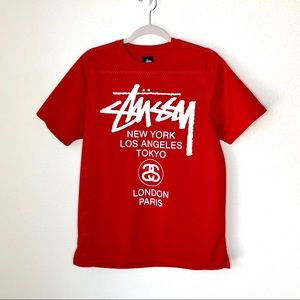 Stussy. Red skatewear jersey tee. Size small.